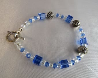 Blue Glass Beads with silver accents