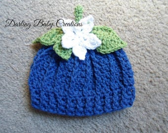 Crochet Blueberry Hat.  Sizes Newborn, 0-3 mths, 3-6 mths, 6-9 mths, 9-12 mths