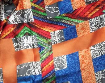 Vintage large silk scarf 130 cm x 132 cm / 51.2 inch x 52 inch