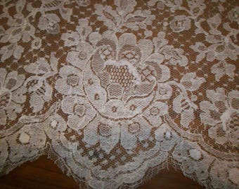 """1 yd. length Antique cotton/silk wide lace 10 1/2 """" wide beautiful pattern"""
