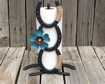 Horseshoe paper towel holder western decor cowboy decor for Horseshoe kitchen decor