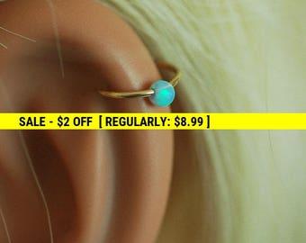 Cartilage hoop Earring, tiny opal silver hoop, opal hoop earring, gold hoop, small opal earrings, silver tiny hoop