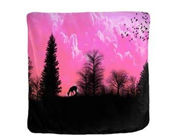 Fleece Blanket, Brilliant Sunset, Deer Silhouette,  Blankets  Soft Velveteen  4 Sizes