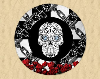 """Sugar Skull Round Beach Towel  60"""" Black and White , Red Roses, Chains"""
