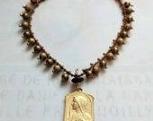 Bracelet - Blessed Virgin Mary 18K Gold Vermeil - Genuine Garnet + Parisian Chain
