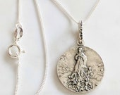 Necklace - Mary Magdalene Carried by Angels - Sterling Silver 20mm + 18 inch Sterling Silver Italian Chain