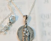 Necklace - Saint Anne 18mm - Sterling Silver + 18 inch Sterling Silver Chain