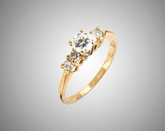 diamond ring .50 ct total 14k five stone ring
