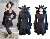 Toothless inspired black dragon cosplay dress costume, gothic goth style black dress with long sleeves, wings, ears and dragon tail