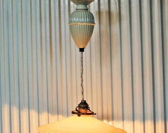 Vintage 1940-50's Opaline glass lamp shade beige with porcelain adjustable weight