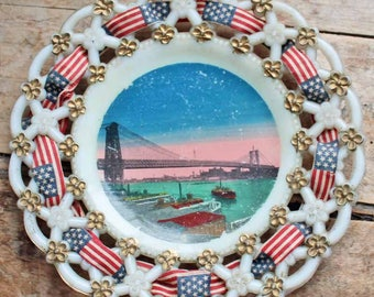 Antique milk glass dish 'Williambourg bridge'/ beginning of 20th century Souvenir of NY hand paint plate with ribbon