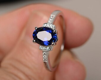 Lab Sapphire Engagement Promise Ring Sterling Silver Ring Oval Cut Blue Gemstone Ring September Birthstone Ring