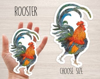 Rooster farm bird watercolor animal art stickers vinyl laptop iphone stickers farm bird decal stickers cool decal skateboard stickers