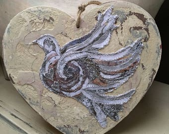 Fiddlestitch Peace Dove Heart. Handpainted & Stitched Peace Dove Chunky Heart.
