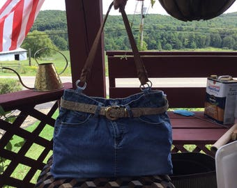 Handmade Jean Skirt Purse