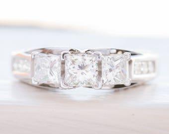 1.49ctw Certified Princess Cut Diamond 14K Engagement Ring, Princess Cut Diamond Ring, Three Stone Diamond Ring, Diamond Three Stone Ring