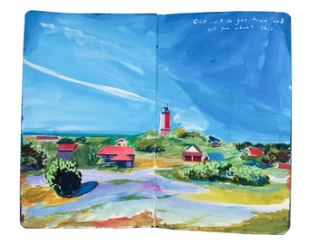 "Fine Art Print of Landscape Painting from Artist Travel Journal - ""Lighthouse of Uto Island, Finland"""