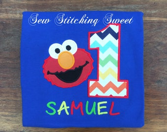 Elmo Birthday Shirt, First Birthday Shirt, Sesame Street, Elmo, First Birthday , Elmo birthday outfit, Personalized Elmo shirt, Birthday