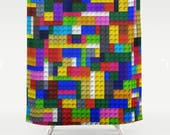 Lego Shower Curtain-Lego Bathroom-Kids Bathroom Decor-Kids Shower Curtain-Lego Brick Shower Curtain-Toy Bricks-Lego Design-Gift Ideas