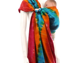 Ring Sling Baby Carrier - Daiesu Sandbox Dyed 05 - Woven Baby Wrap, tie dye baby sling, newborn to toddler, infant carrier, new mom gift