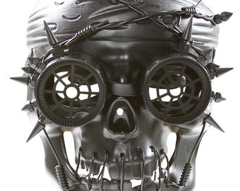 Steampunk Pirate Style Mask with Spikes and Wires