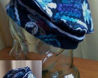 black blue beret Hat flowers