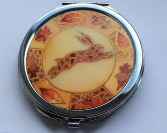 Autumn Hare Compact Mirror - makeup mirror, Mother's Day gift