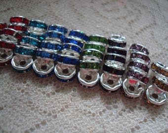 100 Small, Colorful, Grade A Brass Rhinestone Spacers. 6mm Straight Edge. Silver Brass Settings. 11 Color Mix Only. *USPS Ship Rates/ Oregon