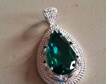 Holiday SALE 85 % OFF Tourmaline Pendant Gemstones  . 925 Sterling Silver