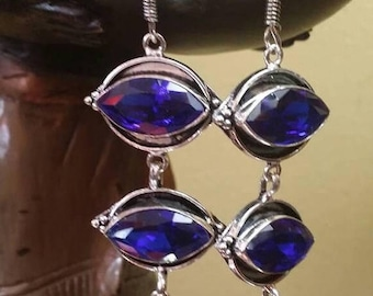 Holiday SALE 85 % OFF Iolite  Sterling silver Earrings Gemstone  .925