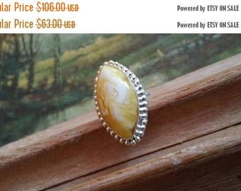 Holiday SALE 85 % OFF Yellow Onyx Size 8.5 Ring Gemstone. 925 Sterling  Silver Tribal Ethnic