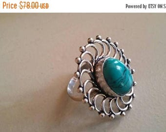 Holiday SALE 85 % OFF Turquoise ring size 7 Sterling 925 Silver   Ring  Gemstone