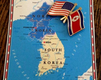 USA and N. Korea Friendship Flag Pin from USA Company / Lapel Pin / Hat Pin / Tie Tac