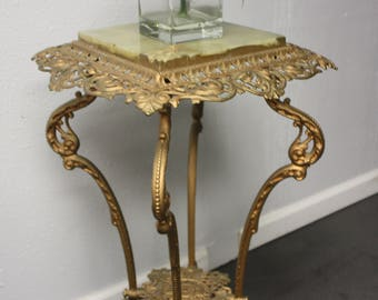 Antique Victorian Filigree Cast Iron and Marble Plant Stand 2 Tier