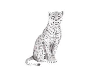 Jaguar Nursery Art Print, Safari Nursery, Sketch, Baby Animal, Gender Neutral Baby, Pencil Drawing, , Kids, Wall Decor, Boy, Girls Room, Zoo