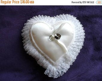 40% OFF Vintage White Satin Ring Bearer's Pillow* Heart Shaped . Ribbons . Gathered Lace . Wedding . Promise Ring . Wedding Accessory . Ring