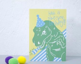 Kids Birthday card, Dinosaur Party, Childrens Birthday Card, For nephew or niece