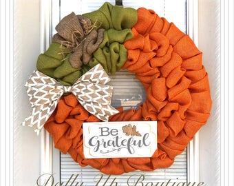 Pumpkin Fall Wreath- Autumn wreath - Halloween Burlap Wreath -Orange Burlap Wreath - Pumpkin Wreath - Fall Wreath - Fall Decor