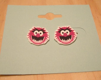 Crazy For You Animal Style Muppet Pierced Earrings, handmade jewelry, Valentine's Gift, 15mm