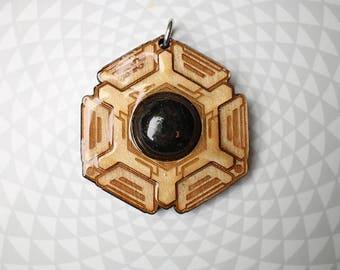 Shungite Pendant - Emf Protection - Hexagon Honeycomb Crystal Healing - Sacred Geometry Energy Jewelry - handmade -