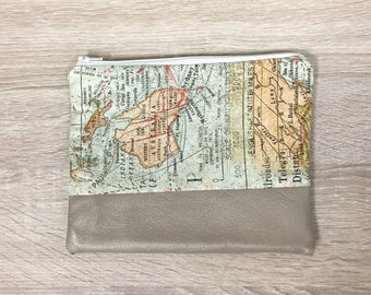 Map Clutch Adventure Bag Travel Clutch Makeup Bag Leather Bag Gift for Traveler Bridesmaid Gift Clutch Zipper Pouch Map Tote Gifts for Her