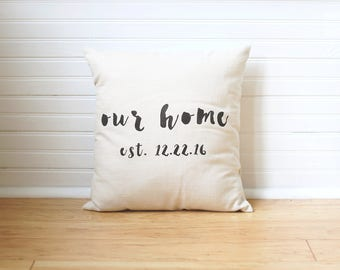 Our Home Pillow Family Pillow Last Name Pillow Personalized Family Pillow Family Name Pillow Linen Pillow Personalized Gift Quote Pillow