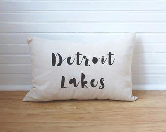 Custom Lake Pillow Detroit Lakes MN Personalized Lake Pillow Lake House Decor Lake Cabin Lake Life State Pillow MN Lake Pillow Lake Gift