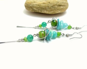 Long earrings, blue green, ceramic, stone and stainless steel