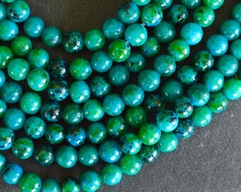 6mm Chrysocolla Gemstone Beads Blue Green Gemstone Beads (16 Beads) Blue and Green Stone Beads, Round Smooth Round Stone Beads