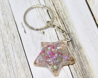 Star Shaped Glitter Keyring Keychain