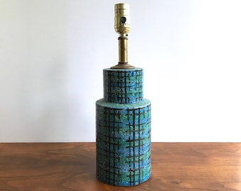 Bitossi Mid Century Modern Blue & Green Crosshatched Table Lamp