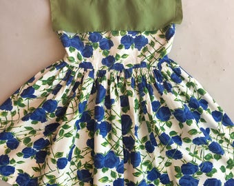 Vintage Original 1950s Little Girls Blue Rose Print Dress