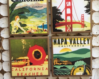 COASTERS! Vintage California travel posters coasters with gold trim
