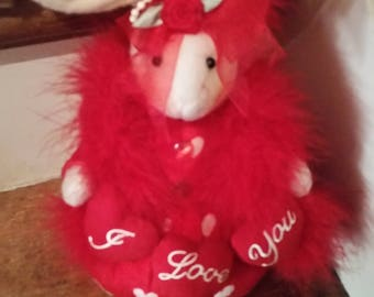 I love you Valentines Day Bunny Rabbit with Red Bia, Vintages 1980s